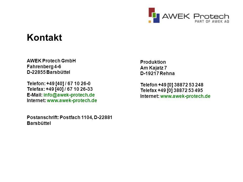 Kontakt AWEK Protech GmbH Fahrenberg 4-6 D-22855 Barsbüttel Telefon: +49 [40] / 67 10 26-0 Telefax: +49 [40] / 67 10 26-33.